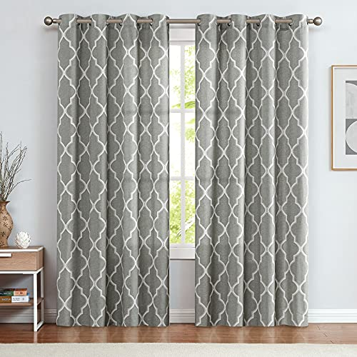 jinchan Curtains Grey Linen Living Room Drapes Light Filtering Moroccan Tile Print Window Treatment for Bedroom Curtain Flax Textured Geometry Lattice Grommet Dining Room 84 Inch Length 2 Panels