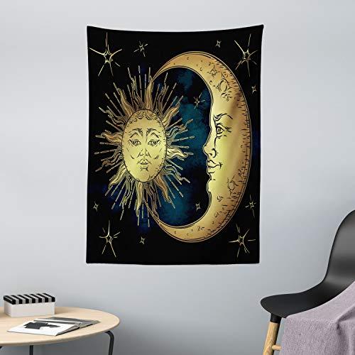 ABAKUHAUS Psicodélico Tapiz de Pared y Cubrecama Suave, Luna y Sol Sagrados en Estilo Antiguo Mito Lunar Astrología Arte Zen, Objeto Decorativo Lavable, 110 x 150 cm, Azul Petróleo
