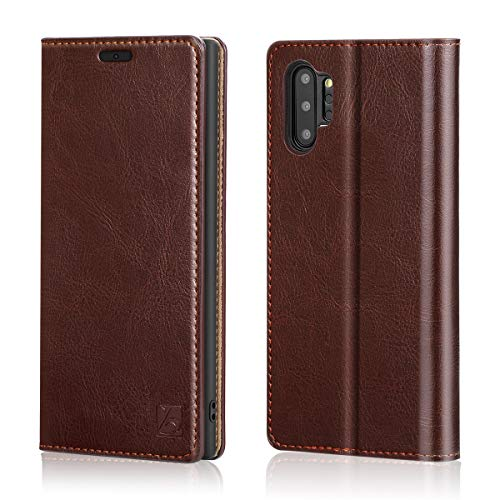 Belemay Samsung Galaxy Note 10 Plus Wallet Case Note 10+ Case, Genuine Cowhide Leather Case Folio Flip Cover, Card Holder Slots Cash Pockets Kickstand Compatible Samsung Galaxy Note 10+ Plus 5G, Brown