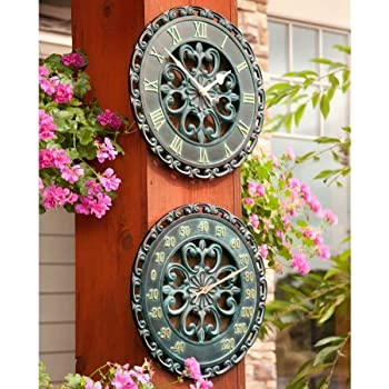 """Palos Designs 14"""" Verdigris Medallion Outdoor Clock and Thermometer Combo Set - Ideal for Indoor and Outdoor Use, Makes a Great Housewarming Gift"""