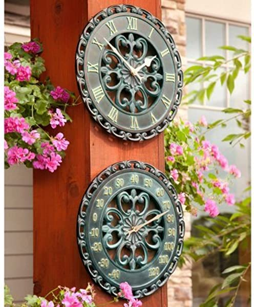 Verdigris Medallion 14 Inch Outdoor Clock And Thermometer Combo Set Ideal For Indoor And Outdoor Use Makes A Great Housewarming Present