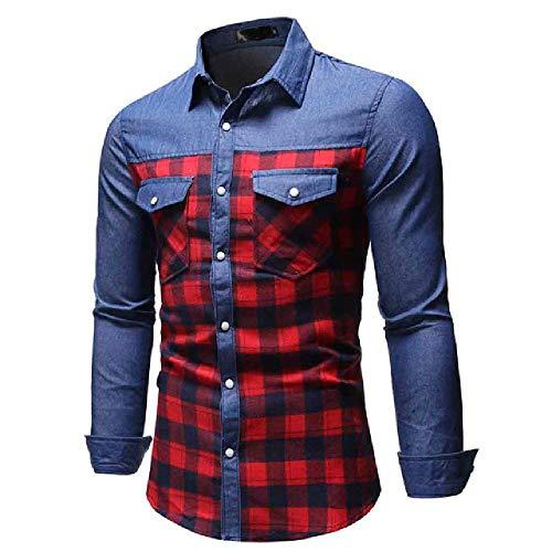 Freizeithemd England Style Polyester Herrenhemd Herren Plaid Patchwork Panel Button Down Jeanshemd Top Bluse