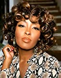 ELIM Curly Afro Wigs for Black Women Short Hair, Black Mixed Brown African American Ombre Kinky Curly Half Wig with Bangs, Natural Looking Hair Replacement Synthetic Wigs with Wig Cap Z014BB