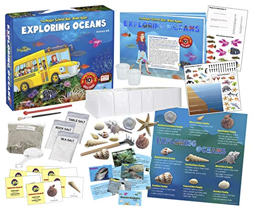 The Magic School Bus Rides Again: Exploring Oceans by Horizon Group USA, Homeschool STEM Kits for Kids, Includes Hands-On Educational Manual, Collector Cards, Sea Shells, Game Cards, Sea Salts & More
