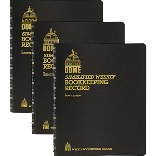 Dome Bookkeeping Record Book, 128 Sheets - Wire Bound - 8 3/4' x 11 1/4' Sheet Size - Brown Cover - Recycled - 3/Bundle (600BD)