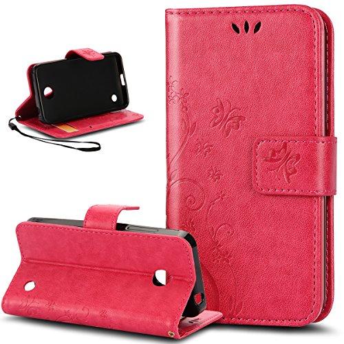 Kompatibel mit Schutzhülle Nokia Lumia 630/635 Hülle Handyhülle Lederhülle,Malerei Schmetterling PU Lederhülle Flip Hülle Cover Ständer Etui Karten Slot Wallet Tasche Hülle Schutzhülle,Rose Red