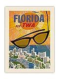 Pacifica Island Art Póster de viaje de la Florida Fly TWA (Trans World Airlines) vintage de David Klein c.1955 – Tela orgánica RAW de 45,7 x 61 cm