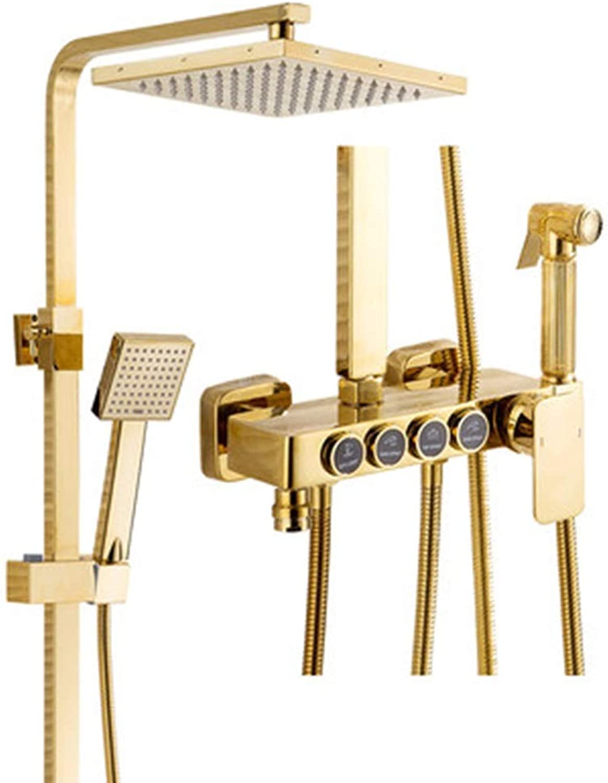 Doccia Duschsystem,Thermostat-Duschset, Druckwasser, Verstellbarer Lift-Duschschlauch