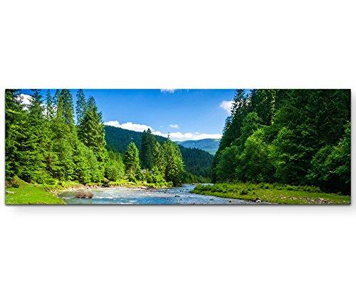 Paul Sinus Art Leinwandbilder | Bilder Leinwand 120x40cm wunderschöne Landschaft mit Bergen, Wald und Bach