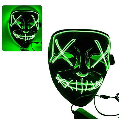 Sinwind LED Purge Maske, LED Mask mit 3 Blitzmodi für Party Halloween Fasching Karneval Kostüm Cosplay Dekoration (grün)