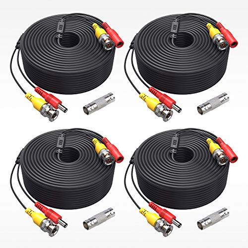 ANNKE (4) 150 Feet Video Power Cable for Security Camera System, All-in-One BNC Video and Power CCTV Security Camera Cable with Female Connectors-W100 (4-Pack)