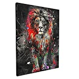 Abstract Graffiti Lion Wall Art Modern Animal Lion Giclee Prints Artwork Black and Red Lion Pictures to Photo Paintings on Canvas for Bedroom Living Room Office Home Decor Ready to Hang 12x16 inches