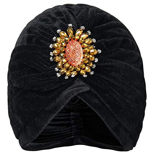 Coucoland Damen Turban Hut mit Kristall Brosche 1920s Haarband Exotisch Retro Indischer Turban Hut Damen Fasching Kostüm Accessoires (Schwarz)