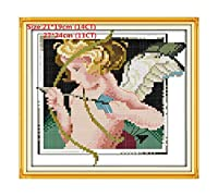 Lovely Angel Embroidery Floss Cross Stitch Kits Embroidery Needlework Sets Cross Stitch Printed Canvas Painting Needlework-In Cloth,Cupid Angel Baby,14Ct Pre-