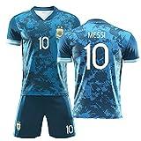 DFGVB 2021 Messi #10 Camiseta de fútbol Argentina Home Messi #10#11#17#21 Camiseta de fútbol para adultos para niños, de secado rápido y transpirable (tamaño: S-XXL, color: blanco, azul) azul1-XL