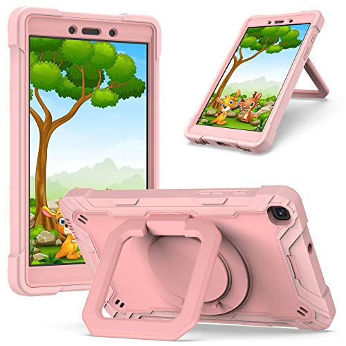 QYiD Case for Galaxy Tab A 8.0 2019 SM-T290/T295, Heavy Duty Shockproof Kids Case with Hand Strap, Kickstand, Shoulder Strap for 8.0 Inch Galaxy Tab A 8.0' 2019, Pink/Pink