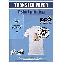PPD A4 Papel De Transferencia Térmica Para Camisetas y Tejidos Blancos o Claros, 20 Hojas - PPD-1-20