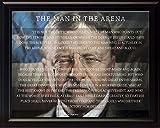 WeSellPhotos Theodore Teddy Roosevelt The Man in The Arena Zitat 20,3 x 25,4 cm, gerahmtes Bild (einzigartiger Hintergr& mit amerikanischer Flagge)