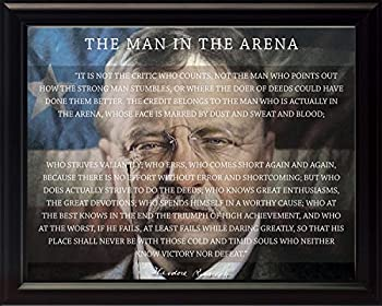 WeSellPhotos Theodore Teddy Roosevelt The Man in The Arena Quote 8x10 Framed Picture  Unique American Flag Background