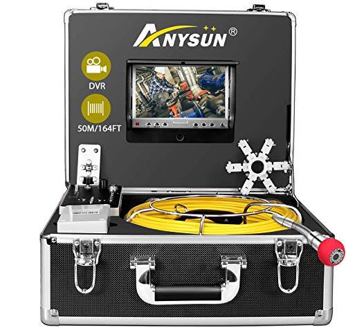 Drenare Telecamera di Ispezione, Endoscopio industriale per tubi per fognatura con Registratore DVR, Periscopio IP68 50M/165ft senza fili Impermeabile con Monitor LCD da 1000TVL(scheda SD da 8 GB)