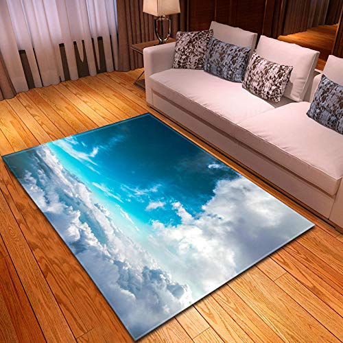 Alfombras Salon Grandes 80x160cm Cielo Azul Patrón Diseño Moderno Alfombras Mullida Tacto Suave Antideslizante Lavable Que no se Desprende Aplicar para Dormitorio Cocina Pasillo Habitacion Rugs