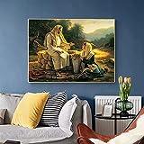 Pintura famosa Jesús y mujer samaritana Pintura en lienzo Póster e impresión Sala de estar Decoración del hogar Imágenes de arte de pared-50X70cm Sin marco