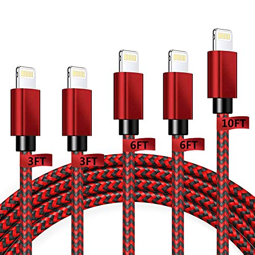 iPhone Charger Cable Lightning Cables MFi Certified 5Pack [3/3/6/6/10FT] Extra Long Nylon Braided USB Fast Charging Syncing Cord Compatible with iPhone 11 Pro Max XS XR X 8 7 6S 6 Plus SE 5S 5C 5 iPad