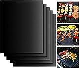 CYWVYNYT-Grillmatte, fünfteiliges Set, Antihaft-Grillmatte und Backmatte, wiederverwendbar, PFOA-frei, perfekt für Holzkohle-, Gas- und Weber-Grills geeignet für Fleisch, Fisch und Gemüse 40x33 cm