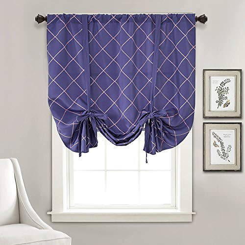 Half Blackout Kitchen Bedroom Tie Up Valances Geometric Trellis Window Drapes for Short Windows Embroidery Balloon Window Treatment Purple Thermal Insulated Curtains for Living Room, 46' x 63'