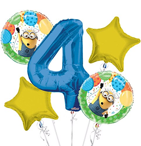 Minions Despicable Me Balloon Bouquet 4th Birthday 5 pcs - Party Supplies