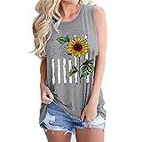 Mayntop Camiseta sin mangas para mujer, con diseño de bandera de Estados Unidos, 4 de julio, camiseta con cuello en O, E-gris claro, 40