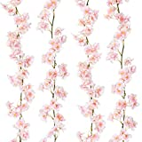 Sunm Boutique Artificial Cherry Blossom Garland Hanging Vine Silk Garland Wedding Party Decor (Pack of 2)