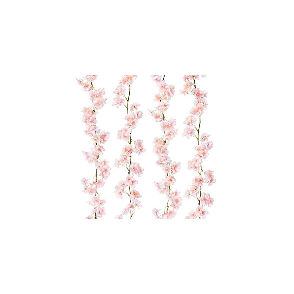 Sunm Boutique Artificial Cherry Blossom Wall Hanging Vine Silk Flower Garland Wedding Party Home Decor