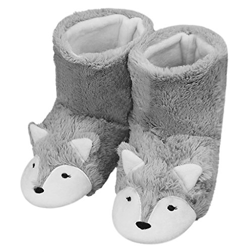 Womens Mens Indoor Warm Fleece Slippers, Cute Cartoon Winter Soft Fuzzy Slip-on Slipper Booties Non-Slip Rubber Sole Cozy Plush Mules Home Bedroom Slide Shoes Ankle Boots Thermal House Slippers Gift