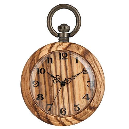 Klassische Holz-Taschenuhr für Frauen, großes hellbraunes Zifferblatt, Taschenuhren für Frauen, praktische abnehmbare raue Kette Anhänger Uhr für Damen