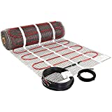 LuxHeat 70 Sqft Heating Mat, 120v Electric Radiant Floor Heating System with Self-Adhesive Mesh for Easy Installation Under Tile, Underfloor and Infloor - Includes Floor Sensor for Thermostat