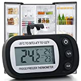 wine and beer refridgerator - Refrigerator Thermometer Digital Freezer Fridge Room Thermometer, Waterproof Temperature Monitor Thermometer with Large LCD Display, Max/Min Record Function for Kitchen, Home, Restaurants, Black