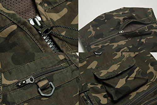 YDSH Mens Outdoor Multi Pockets Camouflage Vest Jacket Multifunction Waistcoat Jacket for Fishing Hunting Photography Gilet