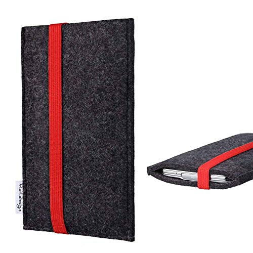 flat.design vegane Handy Tasche Coimbra kompatibel mit Huawei P20 Pro Single-SIM - Schutz Hülle Tasche Filz vegan fair rot