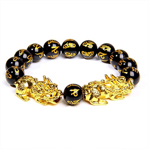 ZAOPP Buddhism Six Word Men Bracelet 12mm Polished Motto Beads Bangle For Homme Gold Pixiu Charm Bracelet Lucky Gift Accessories (Length : 17cm, Metal Color : 1)