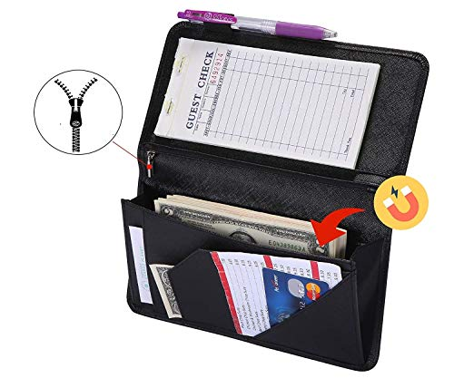 """Server Book with Zipper and Magnetic Pocket Waitress Book Waiter Book Wallet Restaurant Waitstaff Organizer Fit Server Apron with Money Pocket 4.7"""" X 9"""" (Big Volume with Magnetic Closure)"""