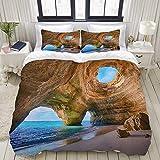 YOLIKA Bedding Juego de Funda de Edredón,White,Algarve Caves Portugal Pequeña Playa Grandes Cuevas,Microfibra NO LLENAR,(Cama 220x240 + Almohada)