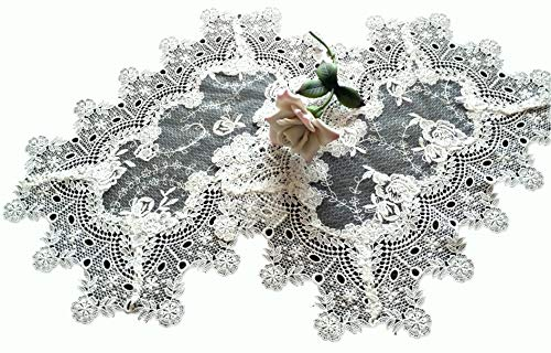 Galleria di Giovanni Set of Two Doilies Dresser Scarf Scarf Lace Victorian English Rose Sheer Lace Vintage Style Doily Place Mats
