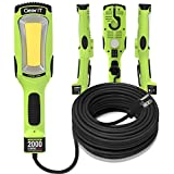 GearIT LED COB Work Light 2000 Lumen (20ft) Handheld, Hanging, Magnetic Base, 16 Gauge SJTW Indoor/Outdoor Extension Cable