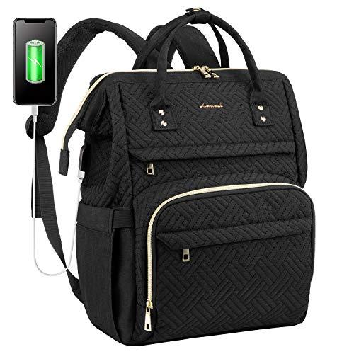 LOVEVOOK Laptop Rucksack Damen Vintage Schulrucksack Daypack mit 15,6 Zoll laptopfach, Stylischer Tagesrucksack mit USB-Ladeanschluss für Universität Reisen, Geschenk für Frauen Mädchen, Schwarz