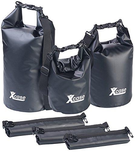 Xcase wasserdichte Packtasche: 3er-Set wasserdichte Packsäcke aus LKW-Plane, 5/10/20 Liter, schwarz (Drybag)