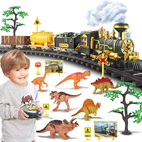Train Set, Updated Large Remote Control Electric Train Toy for Boys Girls...