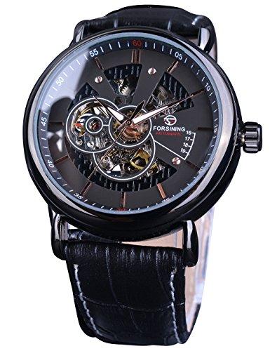 Forsining Hombres Relojes Piel analógica Business Casual Vestido Esqueleto mecánico Reloj de Pulsera