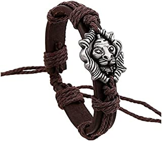 Most Beloved New Punk Vintage Leather Men Bracelet Lion King Charm Bracelet Wristband Animal Jewelry