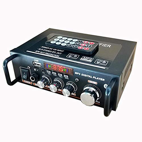 WWMH Amplificador Coche,Bluetooth Control Remoto Disco U Tarjeta TF MicróFono Radio FM ReproduccióN de Una Sola Pista Motocicleta Amplificador Interior y Exterior Rojo,Audio para AutomóVil